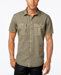 Inc International Concepts Men's Porter Multi Pocket Short Sleeve Shirt Only At Macy's Taupe Tone