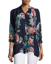 Johnny Was Gail Floral Print Blouse Multi Navy Women's Multi Navy