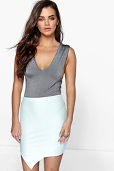 Boohoo Asymetric Ribbed Mini Skirt Mint