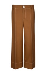Bally Twill Palazzo Trousers Brown