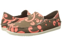 Olukai Nohea Canvas Print Mustang Coral Women's Slip On Shoes Brown