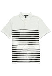 Forever 21 Stripe Print Polo White Black