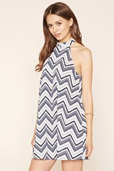 Forever 21 Contemporary Chevron Dress Navy White