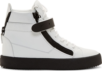 Giuseppe Zanotti White And Black Leather May Birel Sneakers