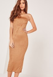 Missguided Faux Suede Bandeau Midi Dress Brown Clay