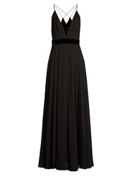 La Mania Sel Plunging V Neck Sleeveless Crepe Gown Black