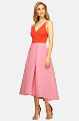 Phoebe Couture Colorblock Low Back Fit And Flare Dress Pink Multi