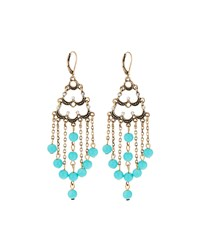 Emily And Ashley Greenbeads By Emily And Ashley Golden Crystal And Turquoise Beaded Chandelier Earrings Women's