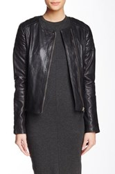 Soia And Kyo Trudy Collarless Leather Moto Jacket Black