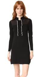 Shoshanna Jenny Ruffle Knit Dress Black White