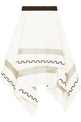 Vionnet Asymmetric Cotton Blend Ponte Mini Skirt White