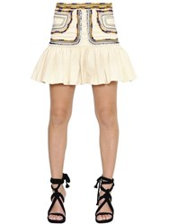 Isabel Marant Ruffled And Embroidered Cotton Twill Skirt