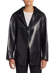 Marni Bonded Leather And Canvas Jacket Black