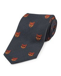 Jaeger Silk Woven Fox Tie French Navy