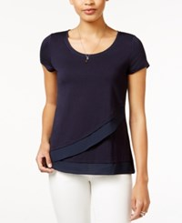 Maison Jules Asymmetrical Contrast Top Only At Macy's Navy Stone