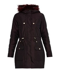 Ted Baker Edmona Faux Fur Parka Jacket Red