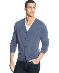 Weatherproof Soft Touch Cardigan Sweater Red Blue Heather