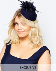 Johnny Loves Rosie Navy Occasion Hat With Feathers Navy
