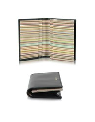 Paul Smith Men's Black Leather And Signature Stripe Interior Fold Over Card Wallet