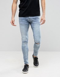 Ringspun Super Skinny Jeans With Knee Rips Blue