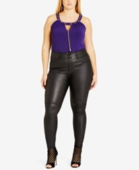 City Chic Trendy Plus Size Faux Leather Skinny Pants Black