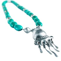 Chen Fuchs Jewelry Chunky Turquoise Bohemian Statement Necklace Silver