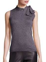 Saks Fifth Avenue Metallic Bow Sleeveless Sweater