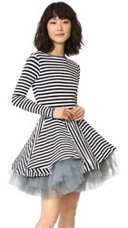 Natasha Zinko Long Sleeve Stripe Dress Black White