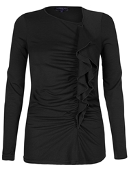 Hotsquash Thinheat Top With Frill Detail Black