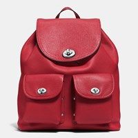 Coach Turnlock Rucksack In Polished Pebble Leather Silver Red Currant
