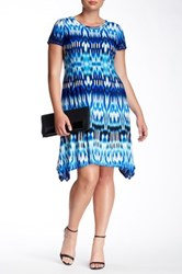 London Times Summer Ikat Short Sleeve Hanky Dress Plus Size Blue