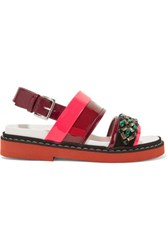 Marni Neon Crystal Embellished Patent Leather Sandals Grape
