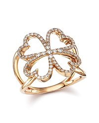 Bloomingdale's Diamond Four Leaf Clover Ring In 14K Rose Gold .35 Ct. T.W.