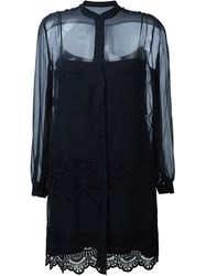 Alberta Ferretti Embroidered Sheer Shirt Dress Blue