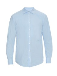Massimo Alba Long Sleeved Cotton Poplin Shirt Light Blue
