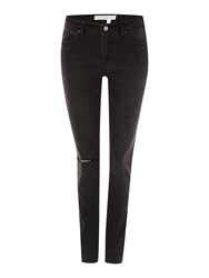 Victoria Beckham Super Skinny Ripped Jeans In Textured Black