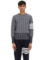 Thom Browne Oxford Waffled Knit Crew Neck Sweater Black