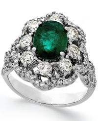 Macy's Emerald 1 3 4 Ct. T.W. And Diamond 1 1 5 Ct. T.W. Ring In 14K White Gold