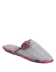 Isotoner Samantha Slip On Slippers Charcoal Heather