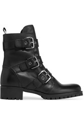 Prada Buckled Leather Boots Black
