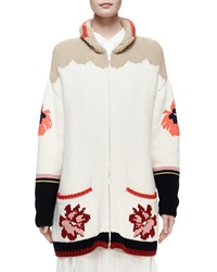 Stella Mccartney Horse Print Intarsia Cardigan Sweater Multi Colors