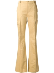 Bouchra Jarrar High Waisted Flared Trousers Nude And Neutrals