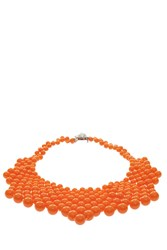 Del Duca Audrey Woven Bib Necklace Orange