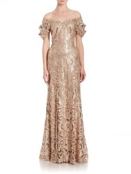 Tadashi Shoji Sequined Lace Off Shoulder Sweetheart Gown Ginseng Natural
