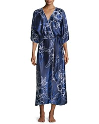 Oscar De La Renta Floral Satin Charmeuse Wrap Robe Blue Size Medium Large