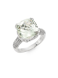 Effy Final Call Green Amethyst Diamond And 14K White Gold Ring White Gold Green