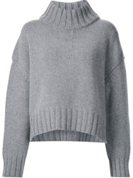 Sally Lapointe Thick Ribbed Collar Pullover Grey