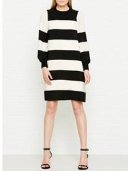 Marc Jacobs Striped Silk Long Sleeve Dress Ivory