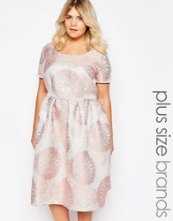 Truly You Brocade Midi Dress Pink