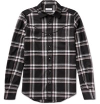 Valentino Slim Fit Checked Wool Flannel Western Shirt Black